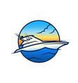 yacht on waves - vip boat round icon vector image vector image