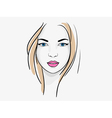 Young beatiful woman portrait sketch vector image