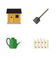 flat icon garden set of wooden barrier shovel vector image