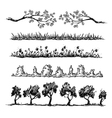 Set of nature hand drawn dividers vector image
