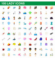 100 lady icons set cartoon style vector image