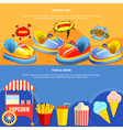 Amusement park mining 2 flat banners vector image vector image