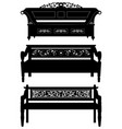 asian antique chair bench furniture in silhouette vector image vector image