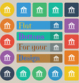 bank icon sign Set of twenty colored flat round vector image