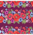 Beautiful Flower Seamless Pattern with Poppy vector image