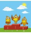 Birds sportsmans on pedestal vector image