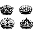black crown icons set on white vector image vector image