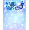 Blue Mardi Gras poster template with bokeh effect vector image