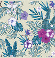 blue tint seamless botanical pattern beige vector image vector image