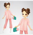 brunette girl in pink suit vector image