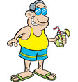 cartoon man wearing a swimsuit and holding a drink vector image vector image