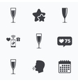 Champagne wine glasses signs Alcohol drink vector image vector image