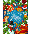 christmas festive card with santa sleigh and gift vector image vector image