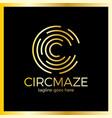 circle maze logotype - letter c logo vector image vector image