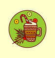 cocoa cup icon merry christmas and happy new year vector image vector image