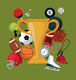 color background with golden trophy cup icons vector image vector image