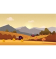 Countryside landscape with hay field and village vector image vector image