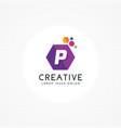 creative hexagonal letter p logo vector image vector image