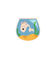 cute fish in aquarium icon flat cartoon vector image