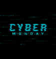 cyber monday sale banner hud style glitch effect vector image vector image