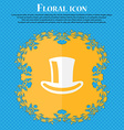 cylinder hat Floral flat design on a blue vector image vector image