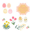 decorative beautiful easter set vector image