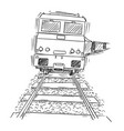 drawing generic train engine locomotive on the vector image