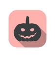 evil pumpkin flat icon with long shadow halloween vector image vector image