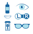 eye contact lenses elements and glasses vector image