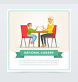 grandmother reading a book to grandson in library vector image