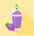 grapes smoothie or juice in plastic glass vector image vector image