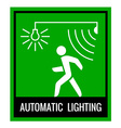 Green signboard of a automatic lighting system vector image vector image