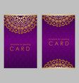 greeting card golden ethnic patterns on violet vector image vector image