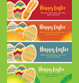 greeting cards with easter eggs and rabbit vector image