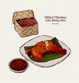 grilled chicken with sticky rice hand draw sketch vector image