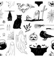 halloween black and white seamless pattern vector image