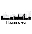 Hamburg City skyline black and white silhouette vector image vector image