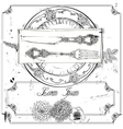 hand drawn fork knife and plate vector image vector image