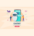 helping bot in smartphone vector image vector image