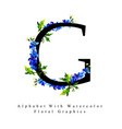 letter g watercolor floral background vector image vector image