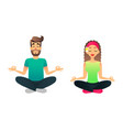 man and woman meditate in lotus pose cartoon vector image vector image