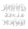 Mermaid collection sketch for your design vector image