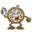 pizza pie cartoon character on a mobile phone vector image vector image