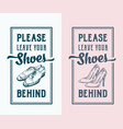 please leave your shoes behind abstract vector image
