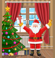 santa in room with christmas tree and gifts vector image vector image