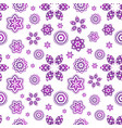 seamless pattern with violet geometrical flowers vector image vector image