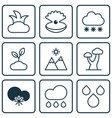 set of 9 ecology icons includes water drops vector image vector image