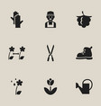 set of 9 editable planting icons includes symbols vector image