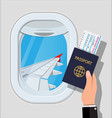 window from inside airplane vector image
