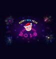 2019 happy new year paper craft holiday dark vector image vector image